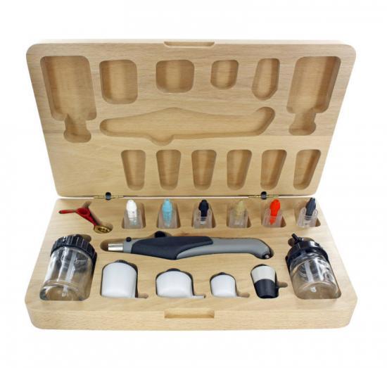 Aztek Deluxe Resin Airbrush Set with Wooden Case