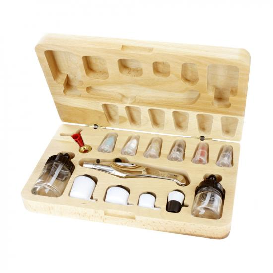 Aztek Single/Double Action Metal Airbrush Set With Wooden Case
