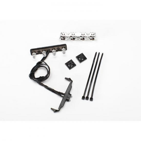 Traxxas LED lightbar roof (chrome)/ light harness (4 clear 2 red)/ wire tie mount (2)/ wire tie (3) (requires power supply 7286)