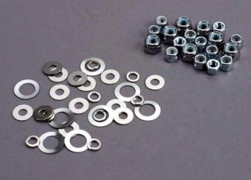Traxxas Nut set lock nuts (3mm (11) and 4mm(7)) washer set