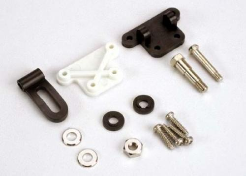 Traxxas Trim adjustment bracket (inner)/ trim adjustment bracket (outer)/trim adjustment lever/ 3x16mm shoulder screw/ 2.6x 10mm self-tapping screws (4)/ convex and concave trim lever washers/ 4x21mm double shoulder screw/ brass washers/ nuts