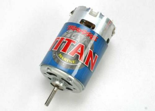 Traxxas Titan marine 550 motor fan-cooled 14 volts 24-turns. Includes motor capacitors. Does not include wires or connectors (requires soldering)