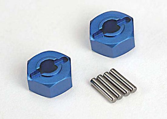 Traxxas Lightweight Blue-anodized Aluminum 12mm Hex Wheel hubs axle pins (4)