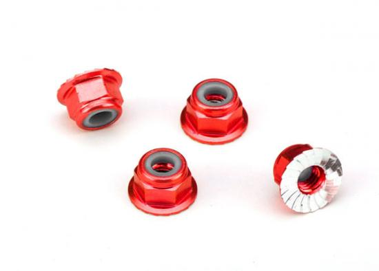 Traxxas Nuts aluminum flanged serrated (4mm) (red-anodized) (4)