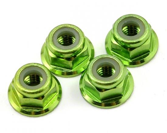Traxxas Green-anodized aluminum 4mm flanged serrated lock nuts (4)