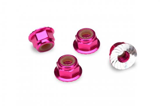 Traxxas Pink-anodized aluminum 4mm flanged serrated lock nuts (4)