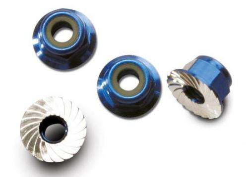 Traxxas Blue-anodized aluminum 4mm flanged serrated lock nuts (4)