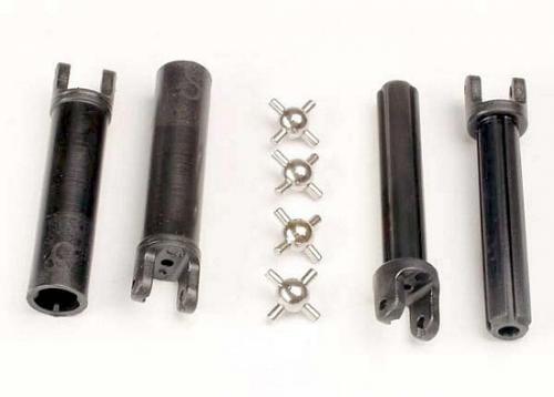 Traxxas Half shafts long truck (external-splined (2) internal-splined (2)/ metal U-joints (4)