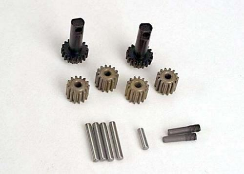Traxxas Planet gears (4)/ planet shafts (4)/ sun gears (2)/sun gear alignment shaft (1) all hardened steel