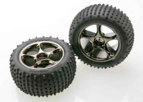 Traxxas Alias Tires with Tracer 2.2 Black Chrome Wheels (assembled glued) (rear) (TSM rated)