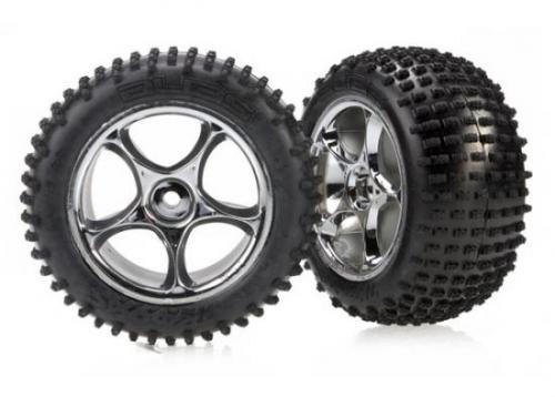 Traxxas Alias Tires with Tracer 2.2 Chrome Wheels (assembled glued) (rear)