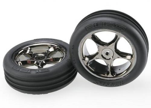 Traxxas Alias Tires with Tracer 2.2 Black Chrome Wheels (assembled glued) (front)
