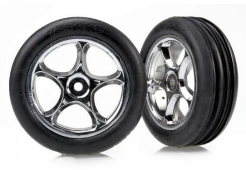 Traxxas Alias Ribbed Tires with Tracer 2.2 Chrome Wheels (assembled glued) (front)