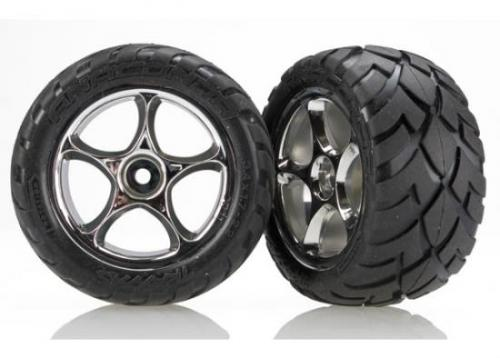 Traxxas Anaconda Tires with Tracer 2.2 Chrome Wheels (assembled glued) (rear)