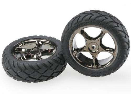 Traxxas Anaconda Tires with Tracer 2.2 Black Chrome Wheels (assembled glued) (front)