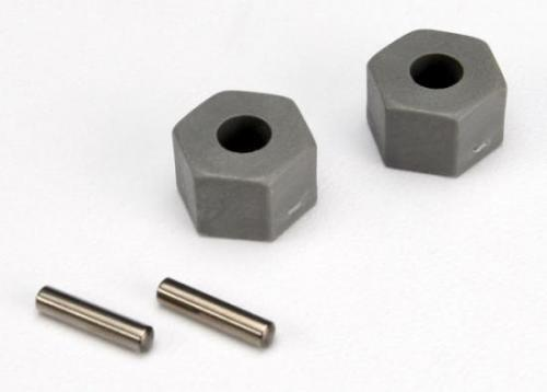 Traxxas 12mm Hex Wheel Hubs (tall offset Rustler/Stampede front) (2)/ axle pins (2.5x10mm) (2)