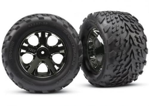 Traxxas Talon tires All-Star black chrome wheels foam inserts (assembled and glued) (nitro rear/ electric front) (2) (TSM rated)