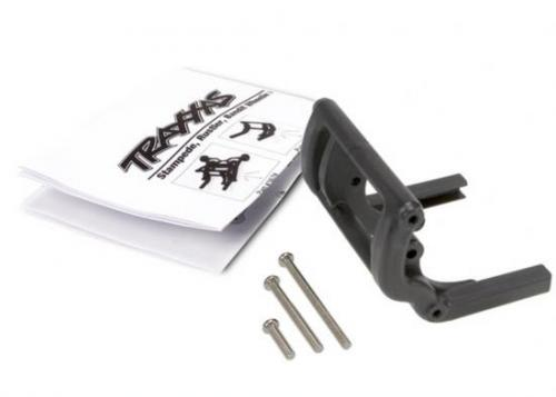 Traxxas Wheelie bar mount (1)/ hardware (black). Use Part 4974 and 4976 to complete the wheelie bar assembly.