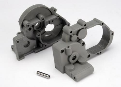 Traxxas Gearbox halves (L R) (grey) w/ idler gear shaft