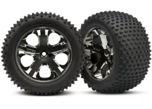 Traxxas Alias tires All Star black chrome wheels foam inserts (assembled and glued) (rear) (2) (TSM rated)