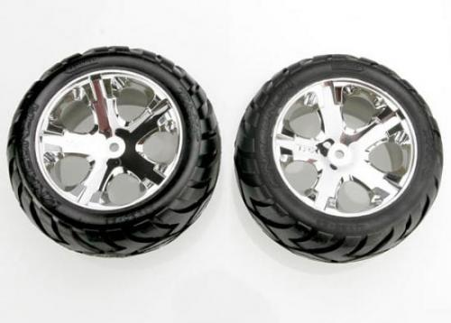 Traxxas Anaconda tires All Star chrome wheels assembled glued (with foam inserts) (electric rear) (1 left 1 right)