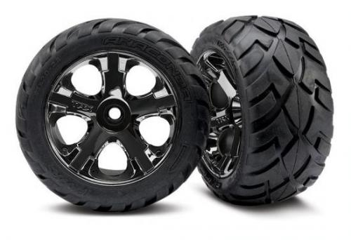 Traxxas Anaconda Tyres Pre Glued On All Star Black Chrome Wheels - 12mm Hex (2WD Elec Rear)