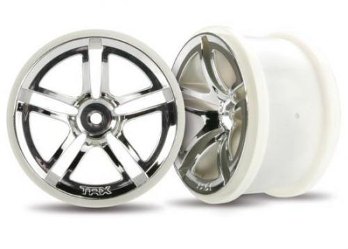 Traxxas Twin-Spoke 2.8 Wheels (chrome) (electric rear) (2)
