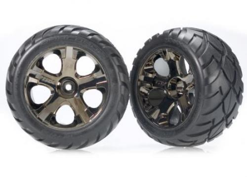 Traxxas Anaconda tires All-Star black chrome wheels assembled glued (with foam inserts) (nitro rear/ electric front) (1 left 1 right)