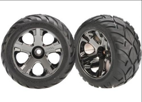 Traxxas Anaconda Tyres Pre-Glued On Black Chrome Nitro Front Wheels (pair)