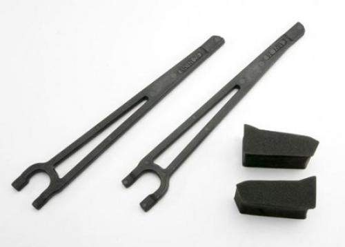 Traxxas Hold downs battery left right (2)/ foam spacers (2) (fits standard battery packs)