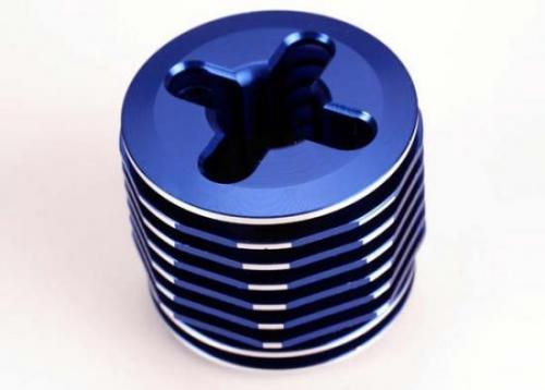 Traxxas Cooling head pro (mach. alum.) (blue-anodized)