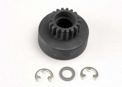 Traxxas Clutch bell (18-tooth)/ 5x8x0.5mm fiber washer (2)/ 5mm E-clip (requires 4609 - ball bearings 5x10x4mm (2))