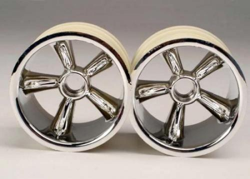 Traxxas Pro Star Chrome Wheels - 2.2 Inch Diameter - Bearing Fit