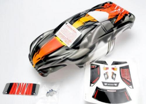 Traxxas Body Nitro Rustler ProGraphix (Replacement for the painted body. Graphics are painted requires paint final color application.)/window grill lights decal sheet/ wing and aluminum hardware