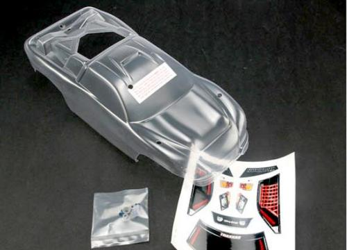 Traxxas Body Nitro Rustler (clear requires painting)/window grill lights decal sheet/ wing and aluminum hardware