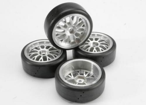 Traxxas Tires Pro-Trax on-road (medium compound with contoured inserts) (mounted and glued to part 4872 wheels) (2 left 2 right)