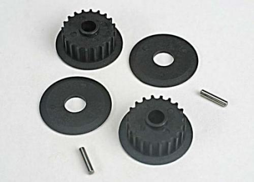 Traxxas Pulleys 20-groove (middle) (2)/flanges (2)/ axle pins (2)