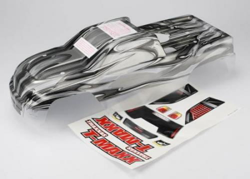 Traxxas T-Maxx ProGraphix Body (long wheelbase) (replacement for painted body. Graphics are painted- requires paint and final color application)/ window grill lights decal sheet