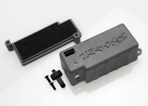 Traxxas Box battery (grey)/ adhesive foam chassis pad/charge jack plug (rubber)
