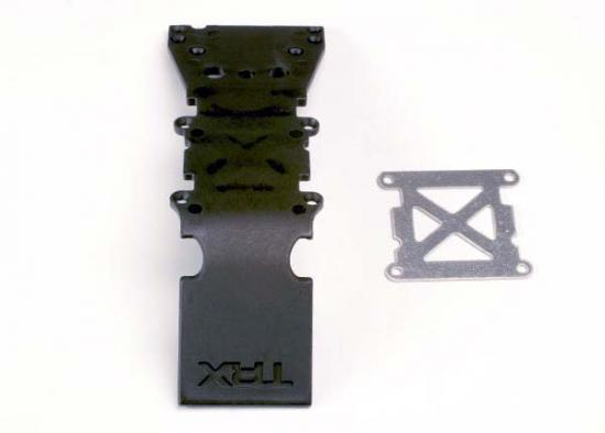 Traxxas Skidplate front plastic (black)/ stainless steel plate