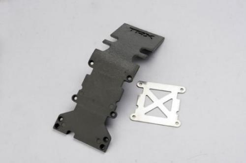Traxxas Skidplate rear plastic (grey)/ stainless steel plate