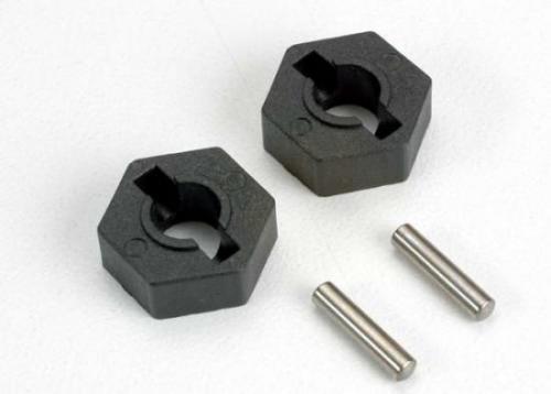 Traxxas Wheel hubs hex (2)/ axle pins (2.5x12mm) (2)