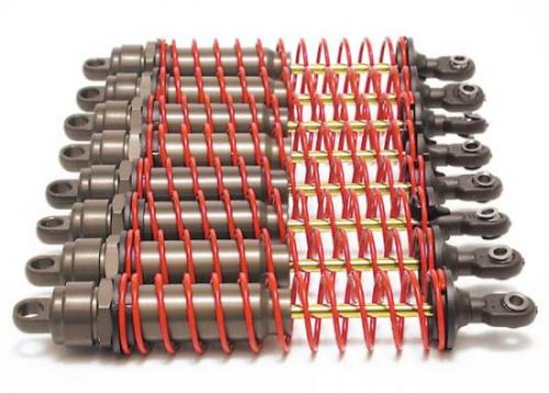 Traxxas Hard-anodized PTFE-coated T6 Aluminum Big Bore shocks (assembled w/ red springs TiN shafts)