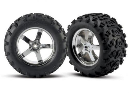 """Traxxas 6.3 Inch MAXX Tyres - Pre Glued On 3.8"""" Chrome Hurricane Wheels - Pair - 14mm Hex"""