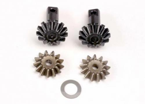Traxxas Diff gear set: 13-T output gear shafts (2)/ 13-T spider gears (2)/ spider shaft (1)/ 6x10x0.5mm PTFE-coated washer (1)