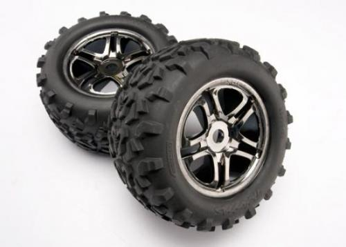 Traxxas Tires wheels assembled glued (SS (Split Spoke) black chrome wheels Maxx tires (6.3 outer diameter) foam inserts) (2) (use with 17mm splined wheel hubs nuts part 5353X) (fits Maxx/Revo series) (TSM rated)