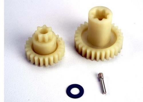 Traxxas Primary gears: forward (28-T)/ reverse (22-T)/ set screw yoke pin M3/12 (1)/ 5x10x0.5mm PTFE-coated washer (1)
