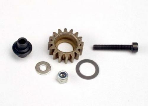 Traxxas Idler gear steel (16-tooth)/ idler gear shaft/ 3x8mm flat metal washer/ 8x12x0.5mm PTFE-coated washer/ 3x6mm flat metal washer/ 3mm nylon locknut 3x20mm cap hex machine screw