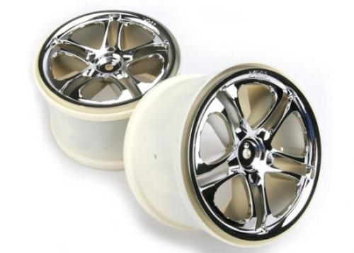 Traxxas SS (Split-Spoke) 3.8 Wheels (chrome) (2) (fits Revo/Maxx series with 14mm Hex)