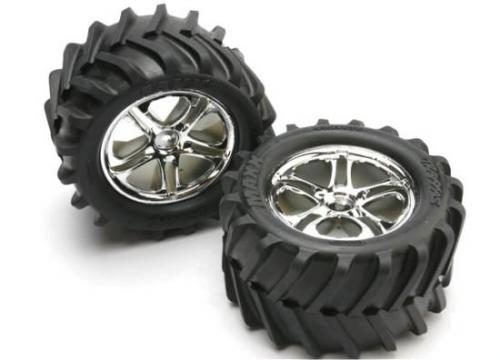 Traxxas Chevron Tyres Pre-Glued On Split Spoke Chrome Wheels (pair)